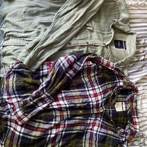 2boyfriend fit American Eagle flannel and buttonup